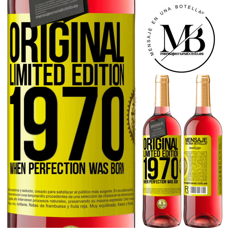 24,95 € Free Shipping   Rosé Wine ROSÉ Edition Original. Limited edition. 1970. When perfection was born Yellow Label. Customizable label Young wine Harvest 2020 Tempranillo