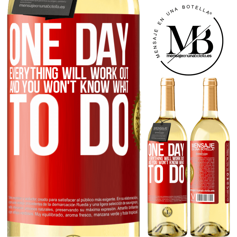 24,95 € Free Shipping   White Wine WHITE Edition One day everything will work out and you won't know what to do Red Label. Customizable label Young wine Harvest 2020 Verdejo