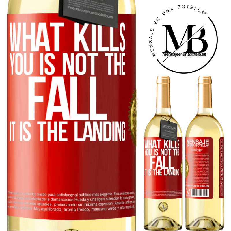 24,95 € Free Shipping | White Wine WHITE Edition What kills you is not the fall, it is the landing Red Label. Customizable label Young wine Harvest 2020 Verdejo