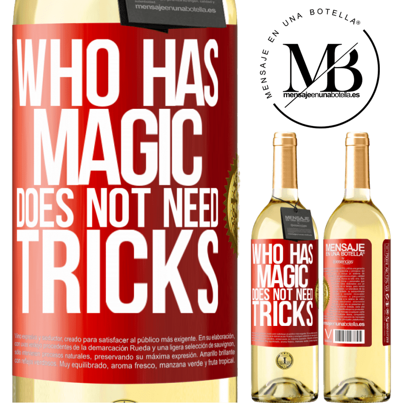 24,95 € Free Shipping | White Wine WHITE Edition Who has magic does not need tricks Red Label. Customizable label Young wine Harvest 2020 Verdejo