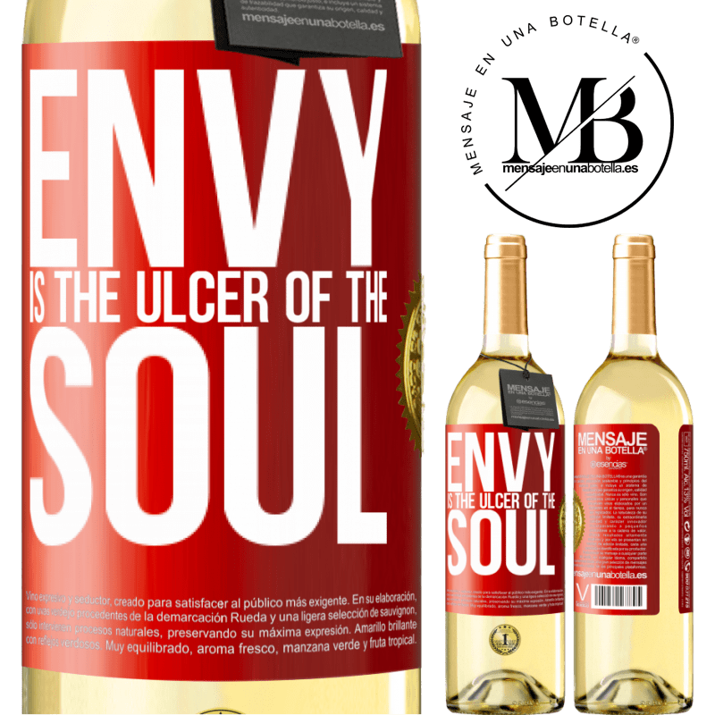 24,95 € Free Shipping | White Wine WHITE Edition Envy is the ulcer of the soul Red Label. Customizable label Young wine Harvest 2020 Verdejo