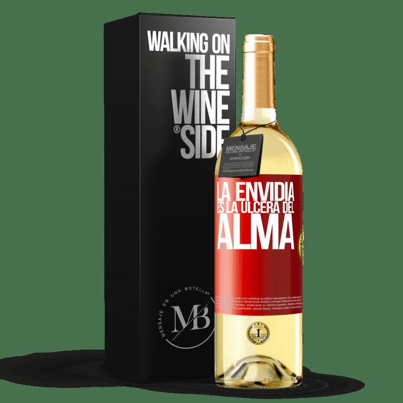24,95 € Envío gratis | Vino Blanco Edición WHITE La envidia es la úlcera del alma Etiqueta Roja. Etiqueta personalizable Vino joven Cosecha 2020 Verdejo