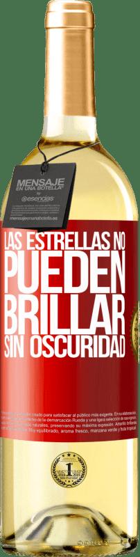 24,95 € Envío gratis | Vino Blanco Edición WHITE Las estrellas no pueden brillar sin oscuridad Etiqueta Roja. Etiqueta personalizable Vino joven Cosecha 2020 Verdejo