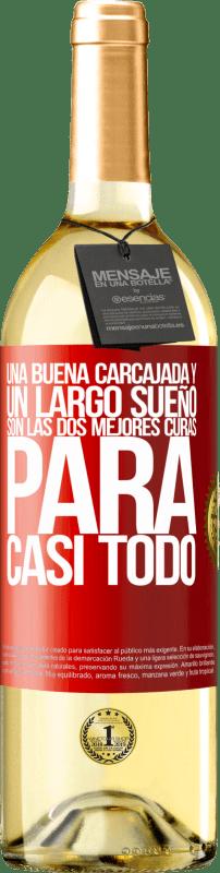 24,95 € Envío gratis | Vino Blanco Edición WHITE Una buena carcajada y un largo sueño son las dos mejores curas para casi todo Etiqueta Roja. Etiqueta personalizable Vino joven Cosecha 2020 Verdejo