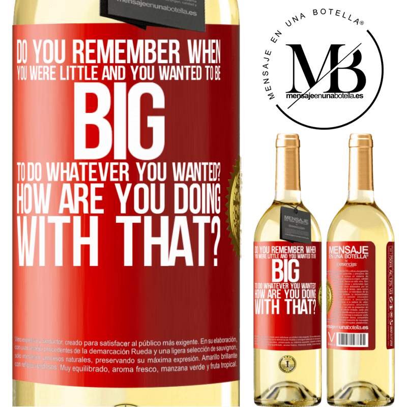 24,95 € Free Shipping | White Wine WHITE Edition do you remember when you were little and you wanted to be big to do whatever you wanted? How are you doing with that? Red Label. Customizable label Young wine Harvest 2020 Verdejo