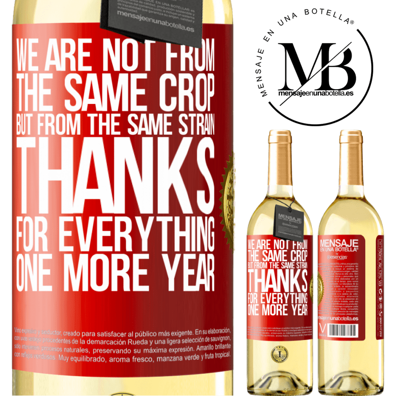 24,95 € Free Shipping | White Wine WHITE Edition We are not from the same crop, but from the same strain. Thanks for everything, one more year Red Label. Customizable label Young wine Harvest 2020 Verdejo