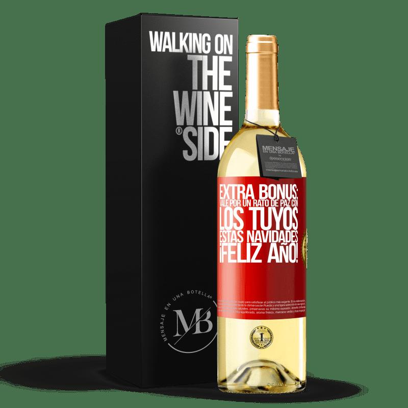 24,95 € Envío gratis   Vino Blanco Edición WHITE Extra Bonus: Vale por un rato de paz con los tuyos estas navidades. Feliz Año! Etiqueta Roja. Etiqueta personalizable Vino joven Cosecha 2020 Verdejo