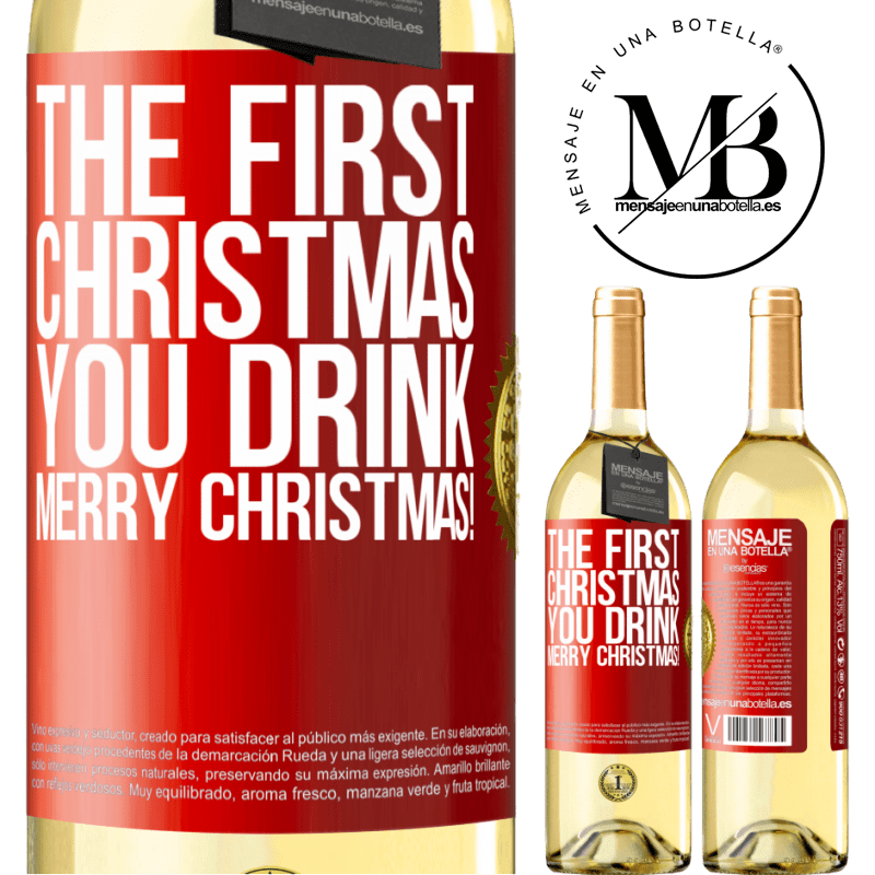 24,95 € Free Shipping | White Wine WHITE Edition The first Christmas you drink. Merry Christmas! Red Label. Customizable label Young wine Harvest 2020 Verdejo