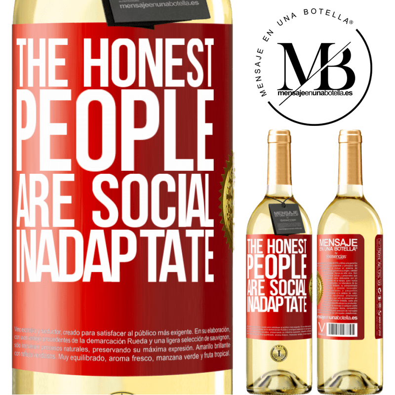 24,95 € Free Shipping   White Wine WHITE Edition The honest people are social inadaptate Red Label. Customizable label Young wine Harvest 2020 Verdejo