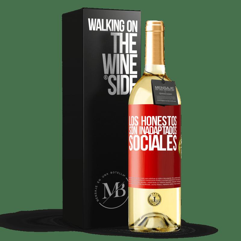 24,95 € Envío gratis | Vino Blanco Edición WHITE Los honestos son inadaptados sociales Etiqueta Roja. Etiqueta personalizable Vino joven Cosecha 2020 Verdejo