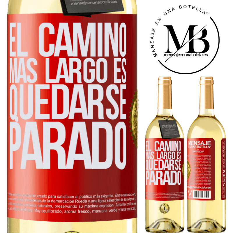 24,95 € Envío gratis | Vino Blanco Edición WHITE El camino más largo es quedarse parado Etiqueta Roja. Etiqueta personalizable Vino joven Cosecha 2020 Verdejo