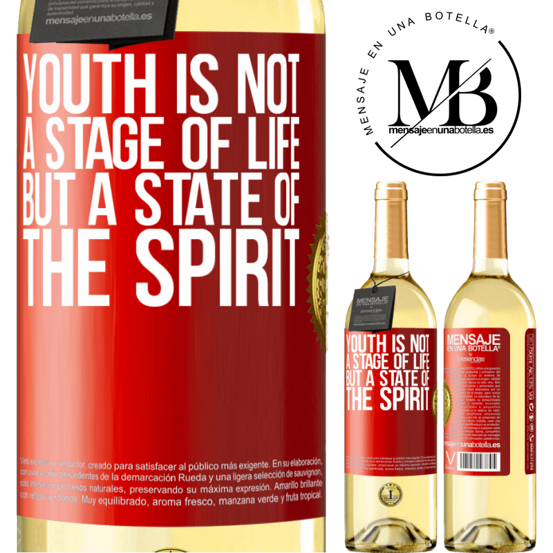 24,95 € Free Shipping   White Wine WHITE Edition Youth is not a stage of life, but a state of the spirit Red Label. Customizable label Young wine Harvest 2020 Verdejo