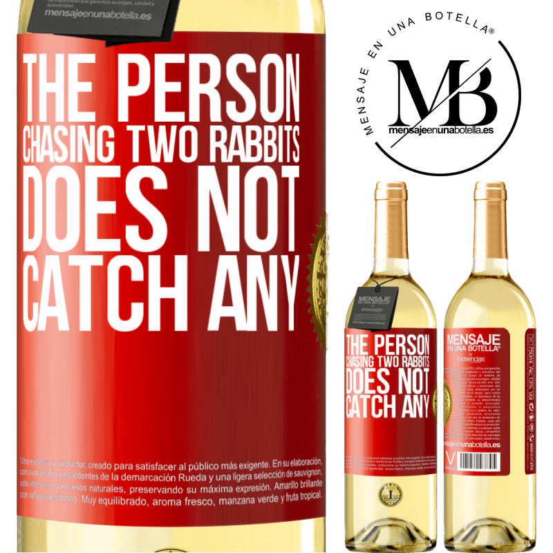 24,95 € Free Shipping | White Wine WHITE Edition The person chasing two rabbits does not catch any Red Label. Customizable label Young wine Harvest 2020 Verdejo