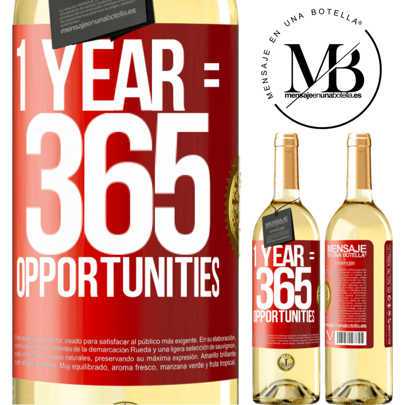 24,95 € Free Shipping | White Wine WHITE Edition 1 year 365 opportunities Red Label. Customizable label Young wine Harvest 2020 Verdejo