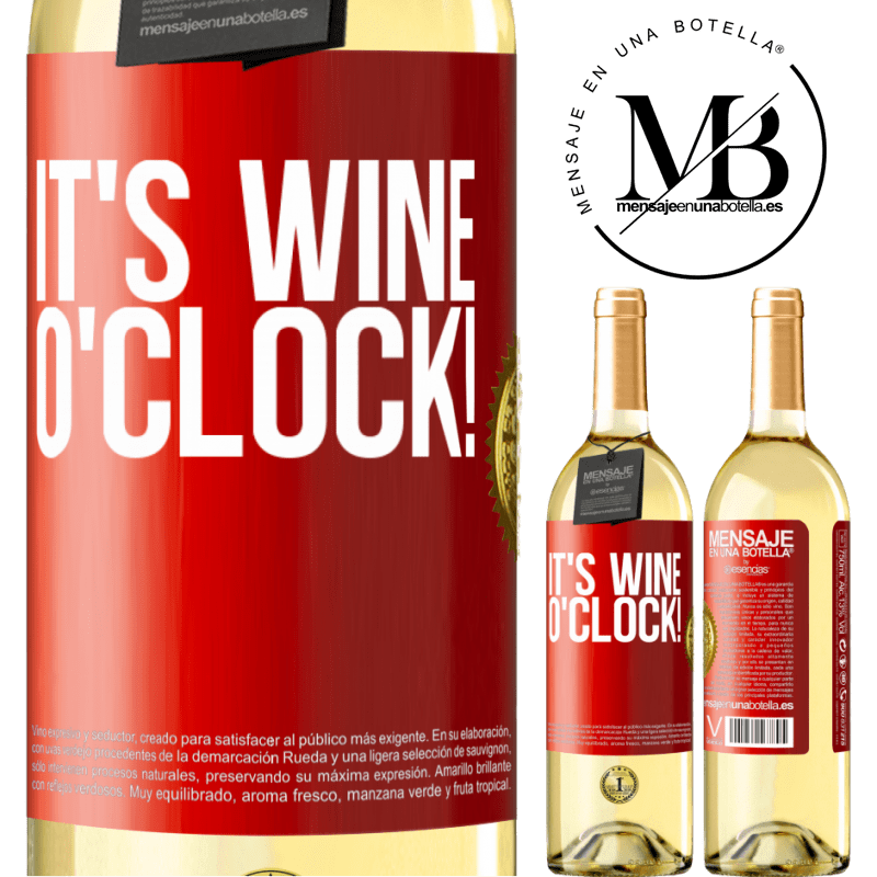 24,95 € Free Shipping | White Wine WHITE Edition It's wine o'clock! Red Label. Customizable label Young wine Harvest 2020 Verdejo