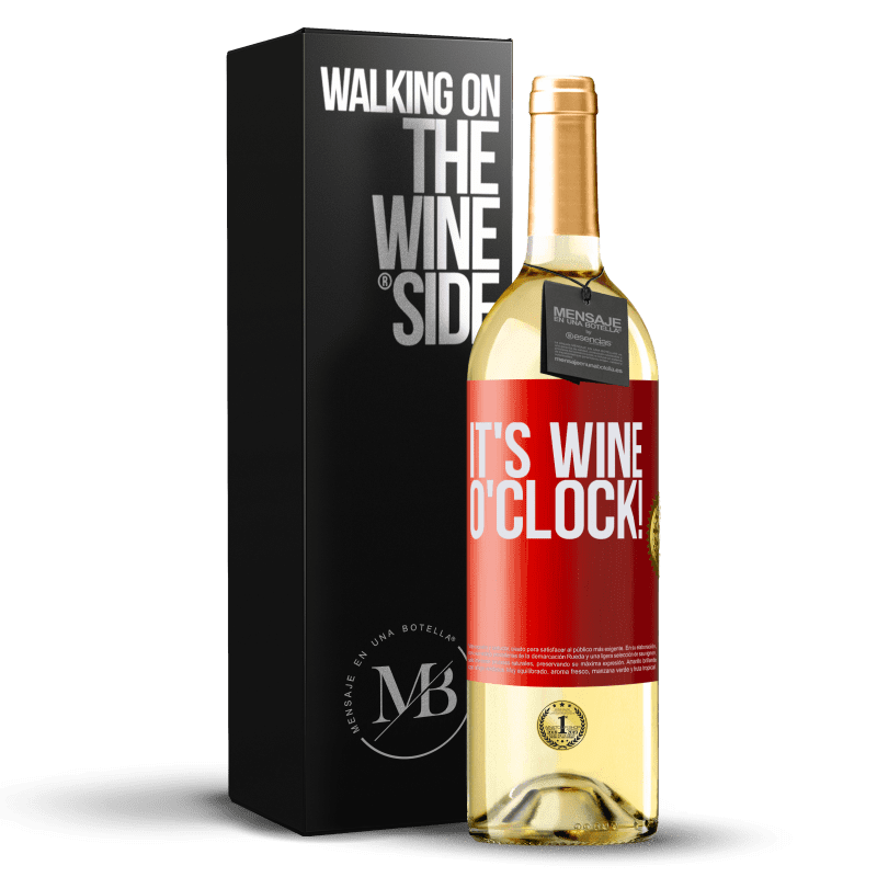 24,95 € Envío gratis | Vino Blanco Edición WHITE It's wine o'clock! Etiqueta Roja. Etiqueta personalizable Vino joven Cosecha 2020 Verdejo