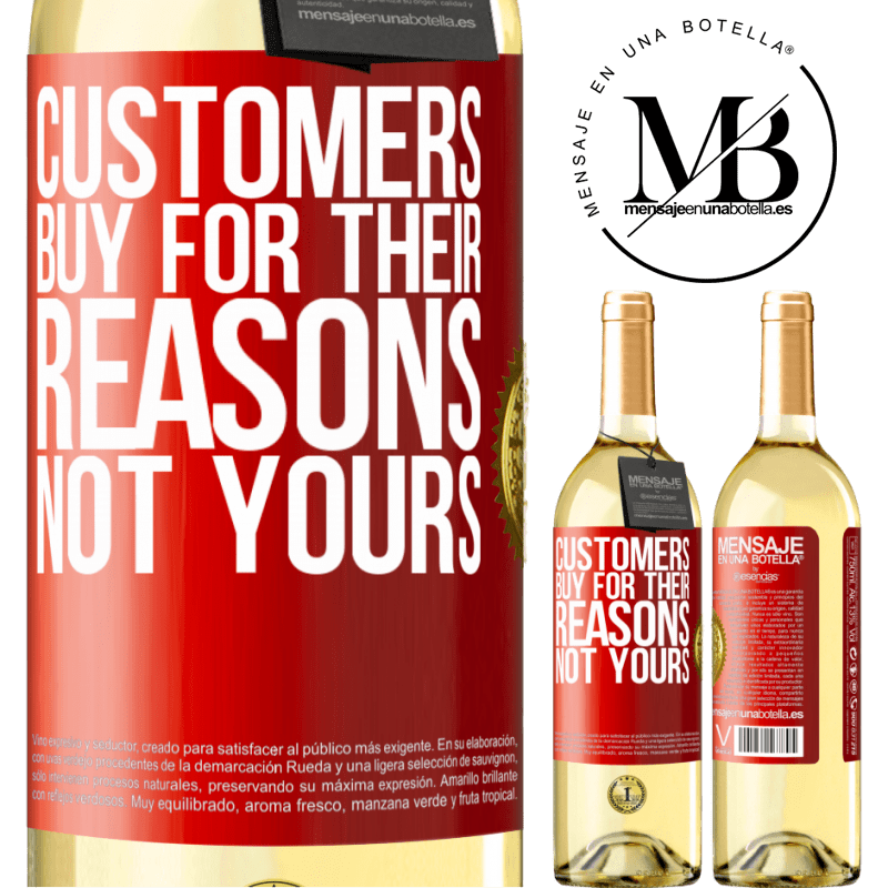 24,95 € Free Shipping | White Wine WHITE Edition Customers buy for their reasons, not yours Red Label. Customizable label Young wine Harvest 2020 Verdejo