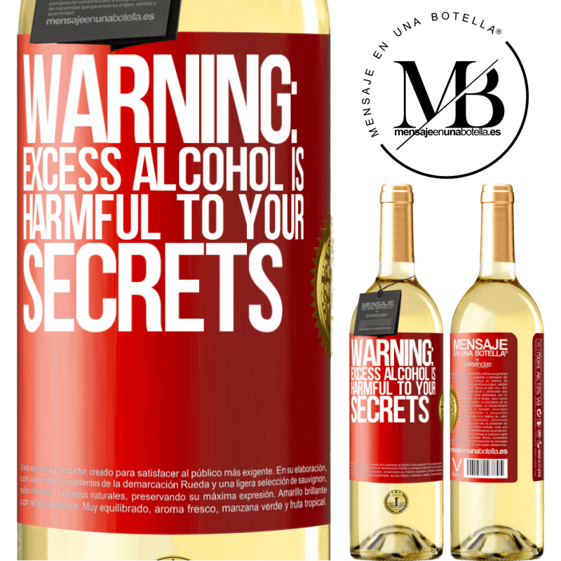 24,95 € Free Shipping | White Wine WHITE Edition Warning: Excess alcohol is harmful to your secrets Red Label. Customizable label Young wine Harvest 2020 Verdejo