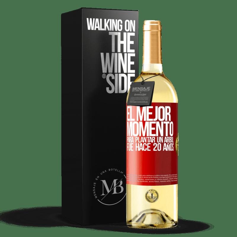 24,95 € Envoi gratuit   Vin blanc Édition WHITE Le meilleur moment pour planter un arbre était il y a 20 ans Étiquette Rouge. Étiquette personnalisable Vin jeune Récolte 2020 Verdejo