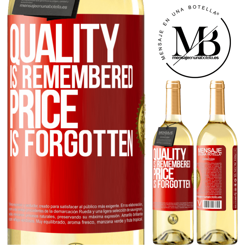 24,95 € Free Shipping   White Wine WHITE Edition Quality is remembered, price is forgotten Red Label. Customizable label Young wine Harvest 2020 Verdejo