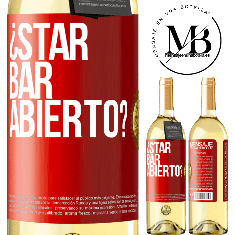 24,95 € Free Shipping | White Wine WHITE Edition ¿STAR BAR abierto? Red Label. Customizable label Young wine Harvest 2020 Verdejo