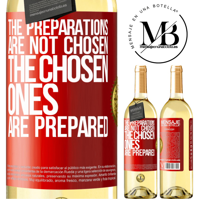 24,95 € Free Shipping | White Wine WHITE Edition The preparations are not chosen, the chosen ones are prepared Red Label. Customizable label Young wine Harvest 2020 Verdejo