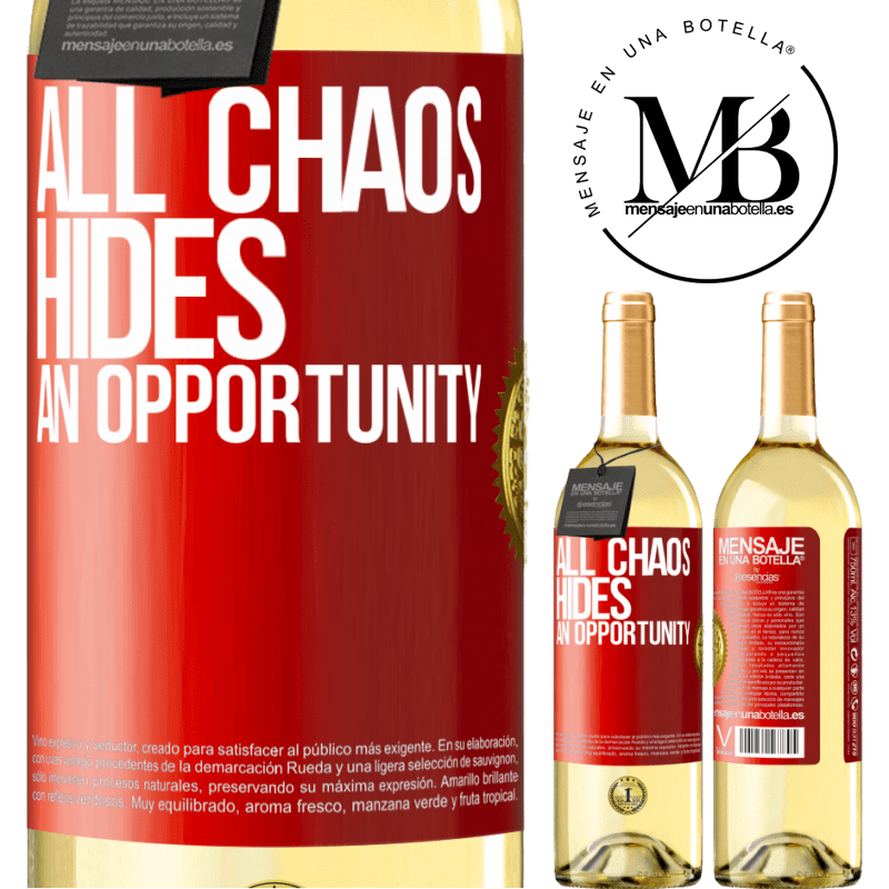 24,95 € Free Shipping   White Wine WHITE Edition All chaos hides an opportunity Red Label. Customizable label Young wine Harvest 2020 Verdejo