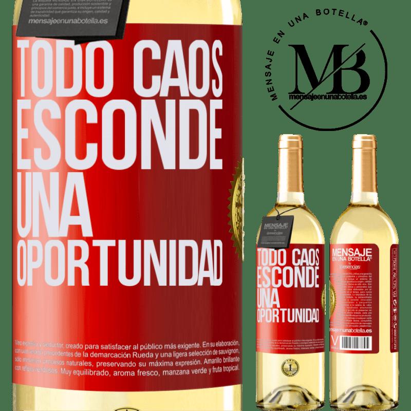 24,95 € Envío gratis | Vino Blanco Edición WHITE Todo caos esconde una oportunidad Etiqueta Roja. Etiqueta personalizable Vino joven Cosecha 2020 Verdejo