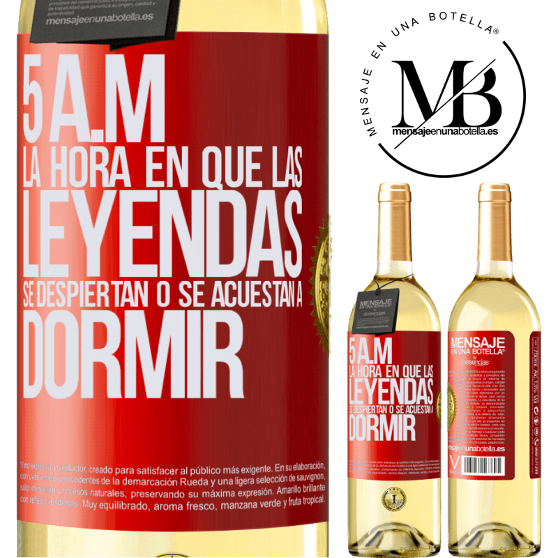 24,95 € Envoi gratuit   Vin blanc Édition WHITE 5 heures du matin Le moment où les légendes se réveillent ou se couchent Étiquette Rouge. Étiquette personnalisable Vin jeune Récolte 2020 Verdejo