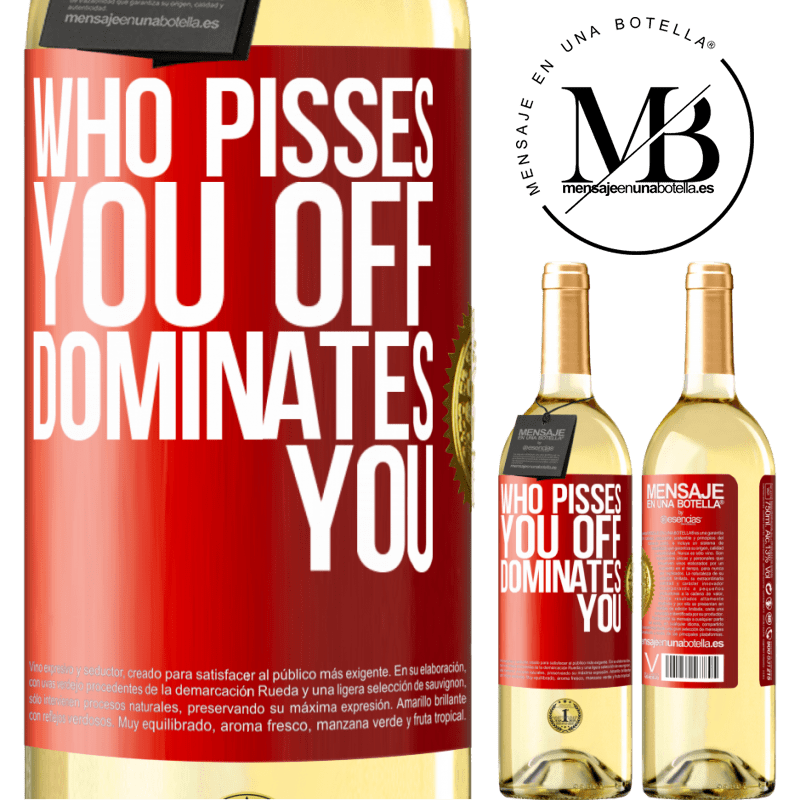 24,95 € Free Shipping | White Wine WHITE Edition Who pisses you off, dominates you Red Label. Customizable label Young wine Harvest 2020 Verdejo