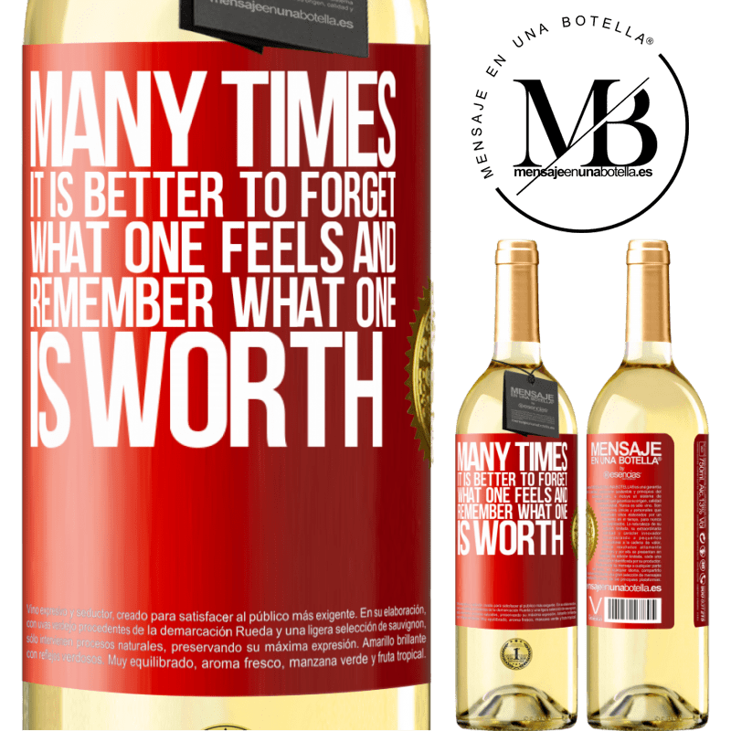 24,95 € Free Shipping | White Wine WHITE Edition Many times it is better to forget what one feels and remember what one is worth Red Label. Customizable label Young wine Harvest 2020 Verdejo