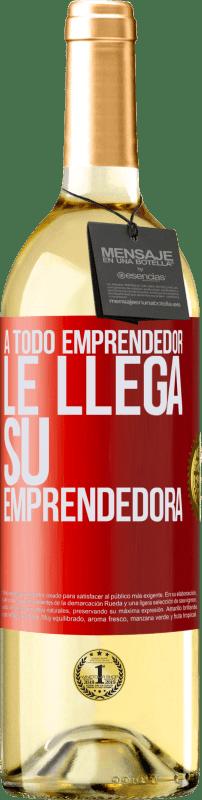 24,95 € Envío gratis | Vino Blanco Edición WHITE A todo emprendedor le llega su emprendedora Etiqueta Roja. Etiqueta personalizable Vino joven Cosecha 2020 Verdejo