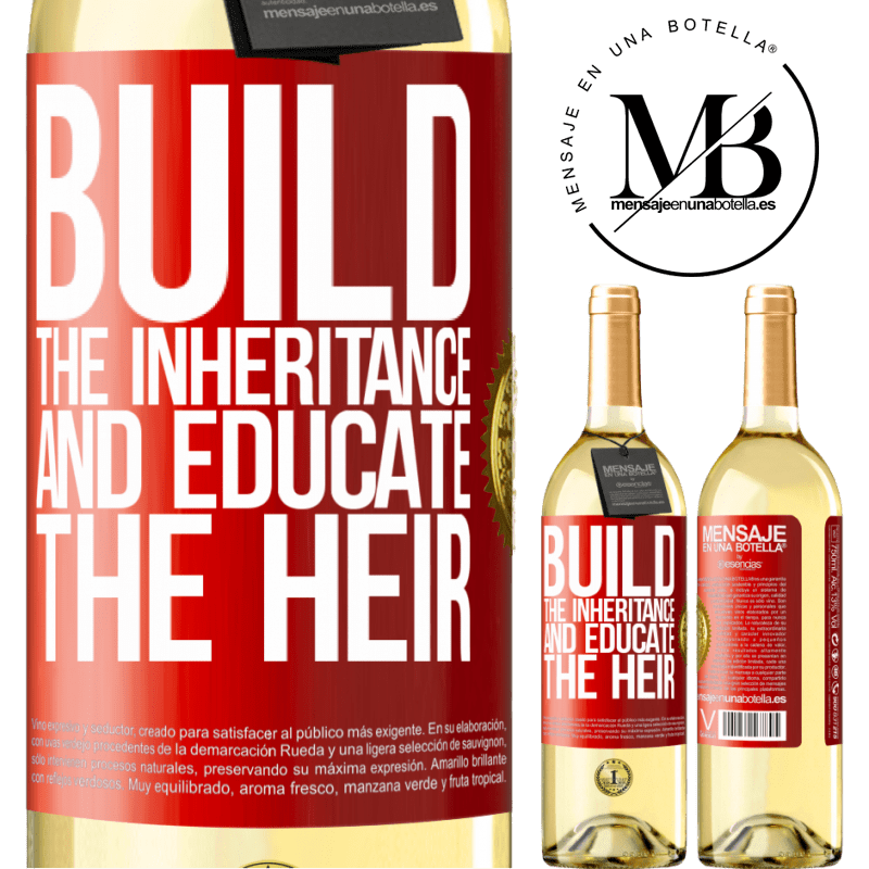 24,95 € Free Shipping | White Wine WHITE Edition Build the inheritance and educate the heir Red Label. Customizable label Young wine Harvest 2020 Verdejo