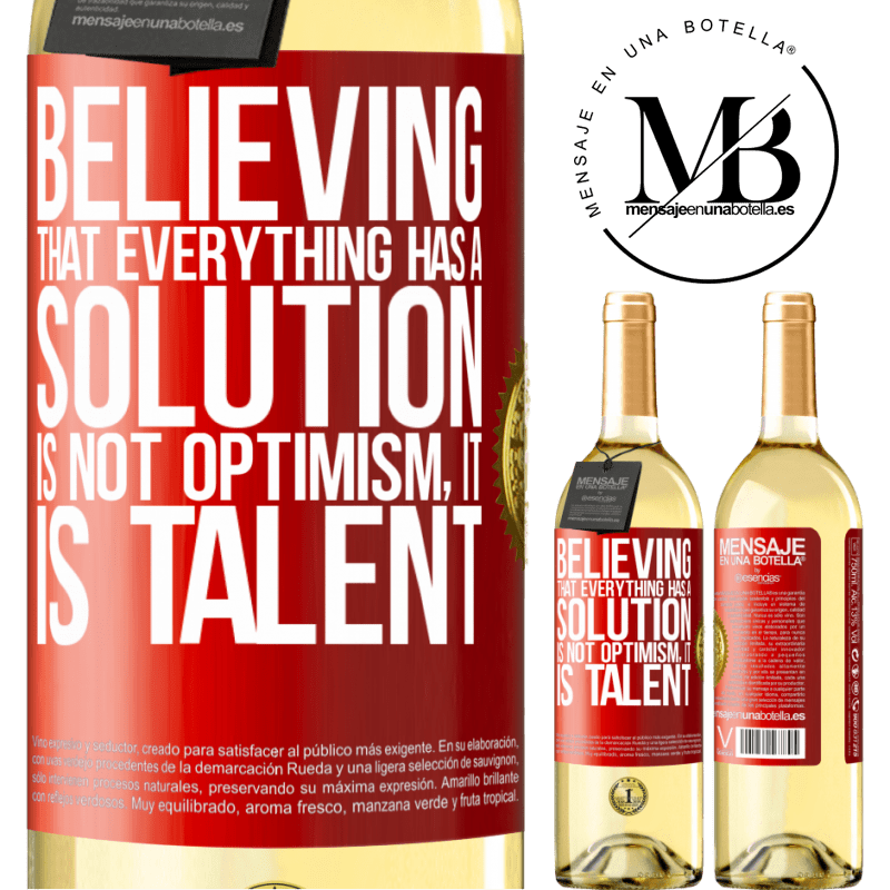 24,95 € Free Shipping | White Wine WHITE Edition Believing that everything has a solution is not optimism. Is slow Red Label. Customizable label Young wine Harvest 2020 Verdejo