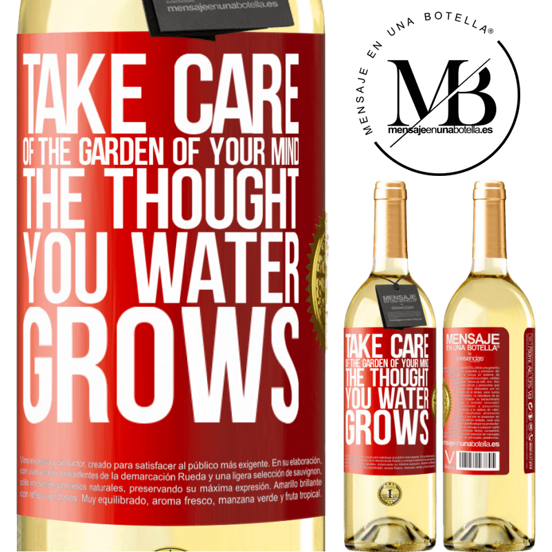24,95 € Free Shipping | White Wine WHITE Edition Take care of the garden of your mind. The thought you water grows Red Label. Customizable label Young wine Harvest 2020 Verdejo