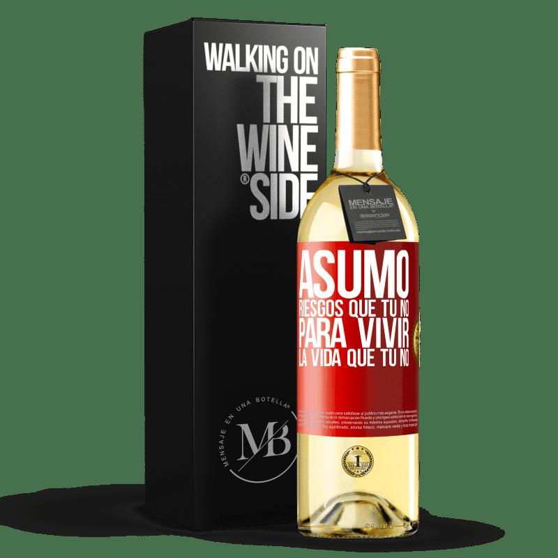 24,95 € Envoi gratuit   Vin blanc Édition WHITE Je prends des risques que tu ne fais pas, pour vivre la vie que tu ne fais pas Étiquette Rouge. Étiquette personnalisable Vin jeune Récolte 2020 Verdejo