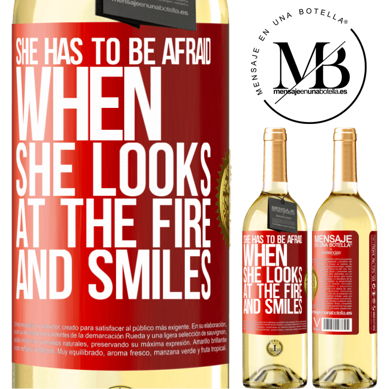24,95 € Free Shipping   White Wine WHITE Edition She has to be afraid when she looks at the fire and smiles Red Label. Customizable label Young wine Harvest 2020 Verdejo