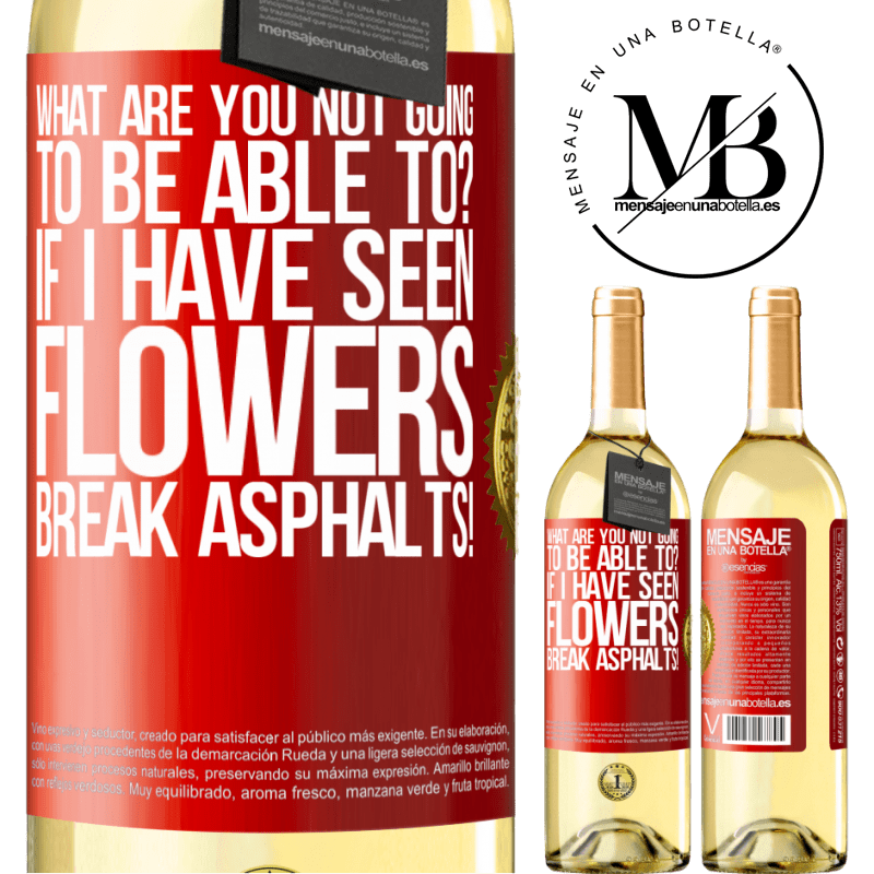 24,95 € Free Shipping | White Wine WHITE Edition what are you not going to be able to? If I have seen flowers break asphalts! Red Label. Customizable label Young wine Harvest 2020 Verdejo