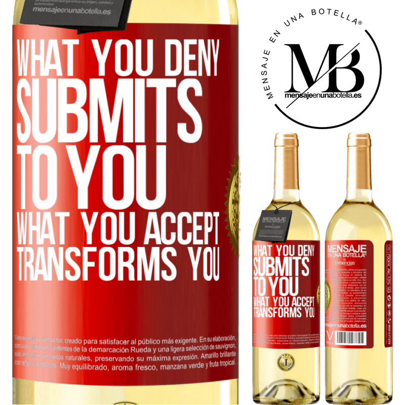 24,95 € Free Shipping | White Wine WHITE Edition What you deny submits to you. What you accept transforms you Red Label. Customizable label Young wine Harvest 2020 Verdejo