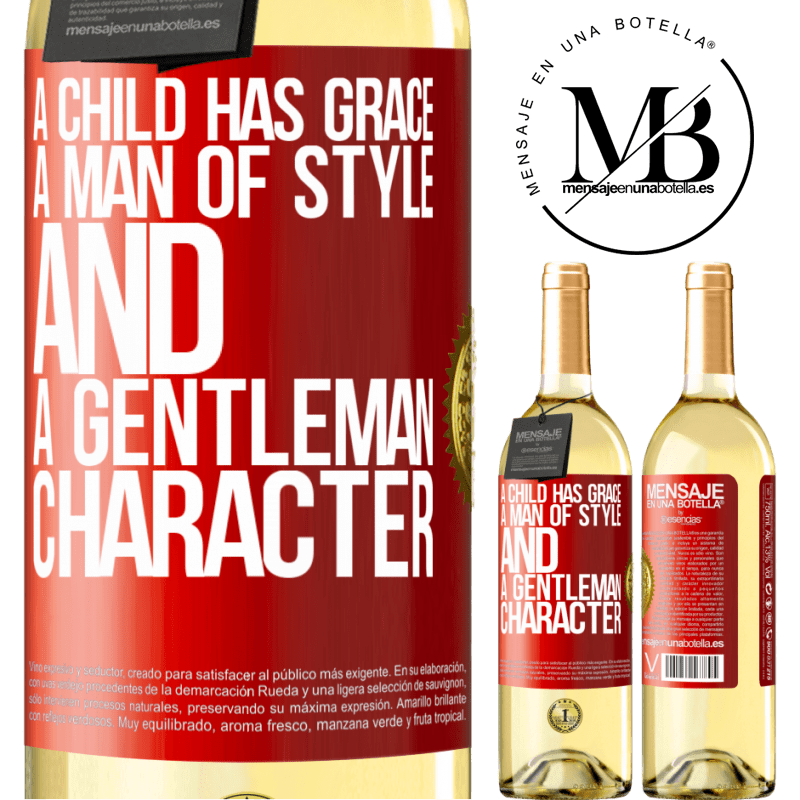 24,95 € Free Shipping | White Wine WHITE Edition A child has grace, a man of style and a gentleman, character Red Label. Customizable label Young wine Harvest 2020 Verdejo