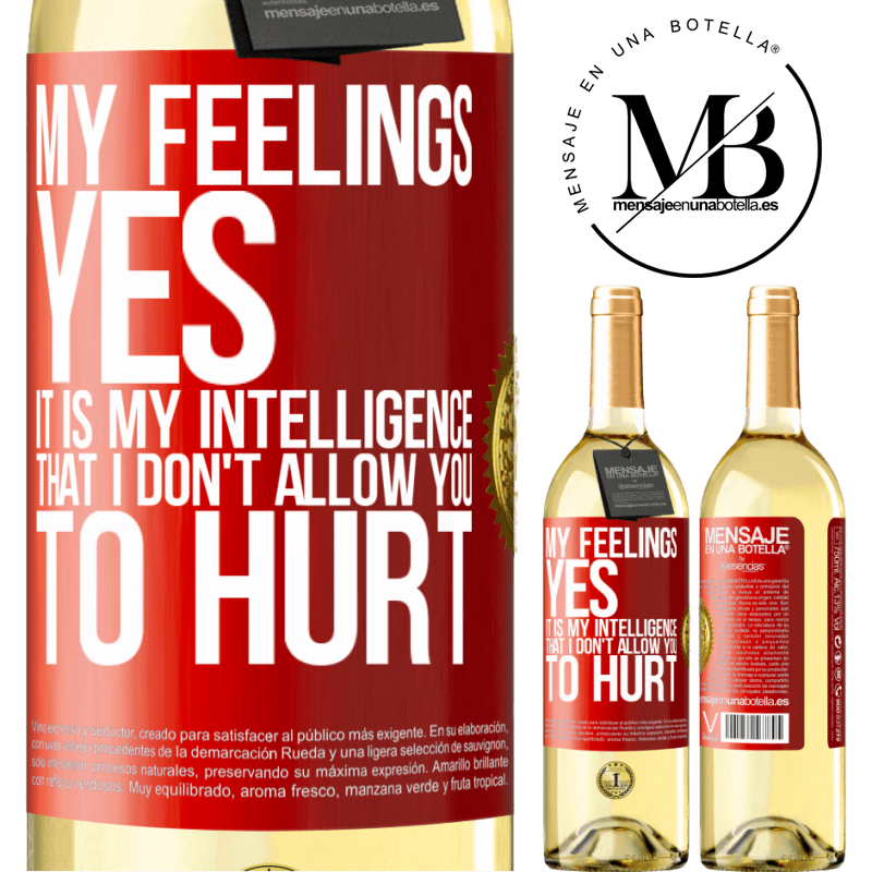 24,95 € Free Shipping   White Wine WHITE Edition My feelings, yes. It is my intelligence that I don't allow you to hurt Red Label. Customizable label Young wine Harvest 2020 Verdejo