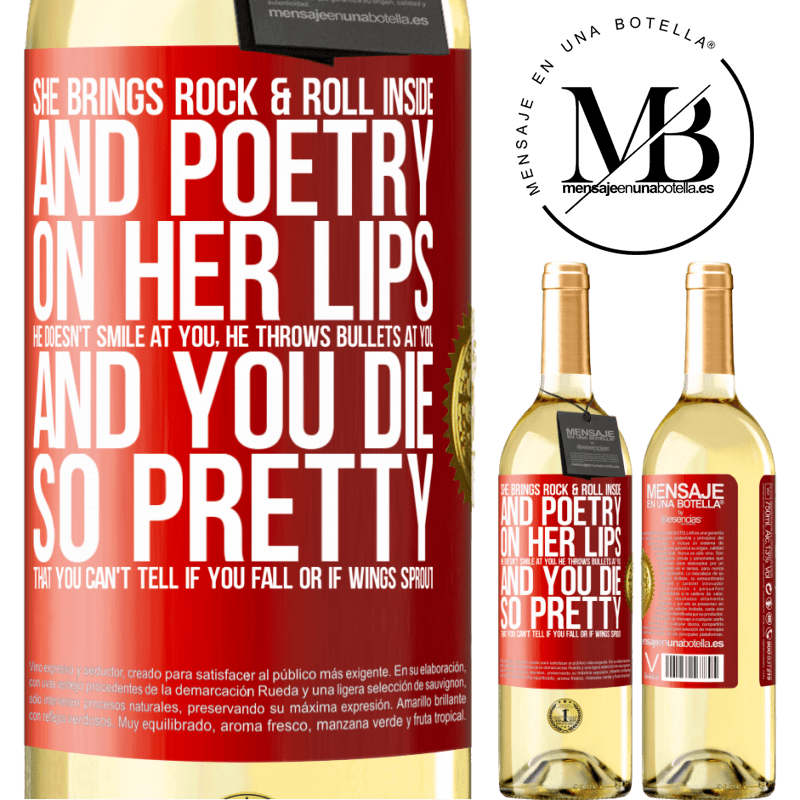 24,95 € Free Shipping | White Wine WHITE Edition She brings Rock & Roll inside and poetry on her lips. He doesn't smile at you, he throws bullets at you, and you die so Red Label. Customizable label Young wine Harvest 2020 Verdejo
