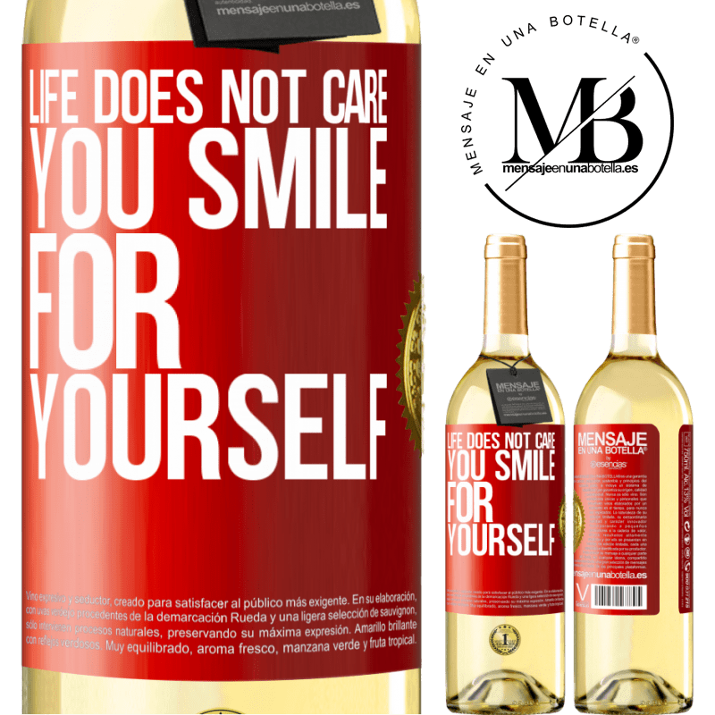 24,95 € Free Shipping | White Wine WHITE Edition Life does not care, you smile for yourself Red Label. Customizable label Young wine Harvest 2020 Verdejo