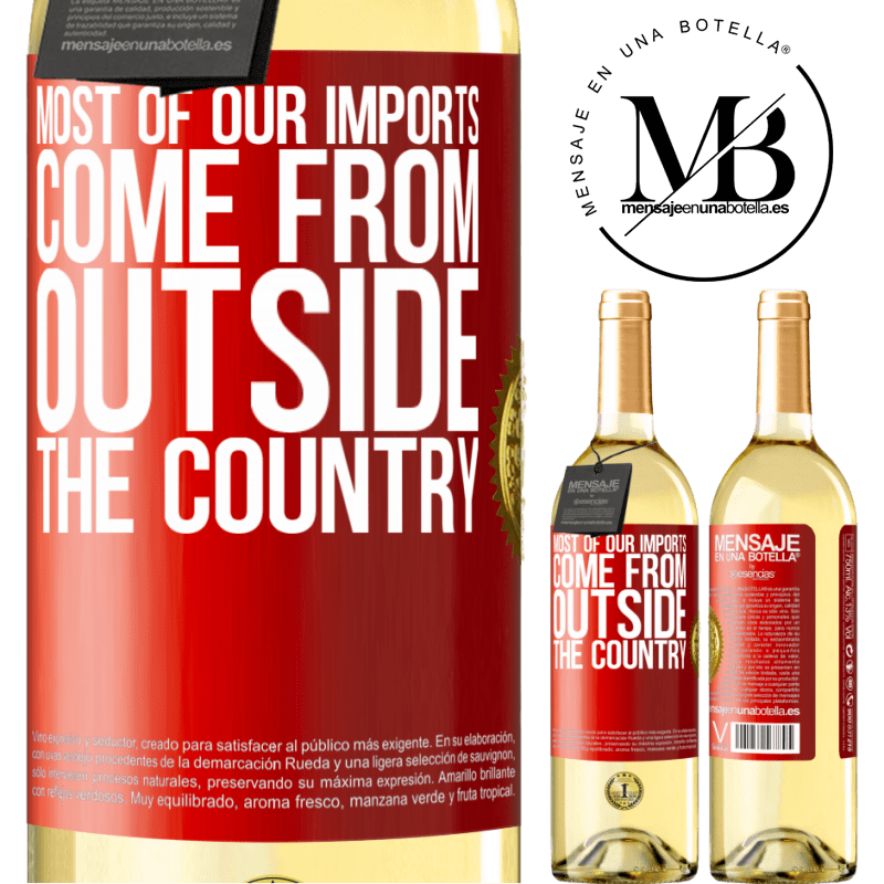24,95 € Free Shipping | White Wine WHITE Edition Most of our imports come from outside the country Red Label. Customizable label Young wine Harvest 2020 Verdejo