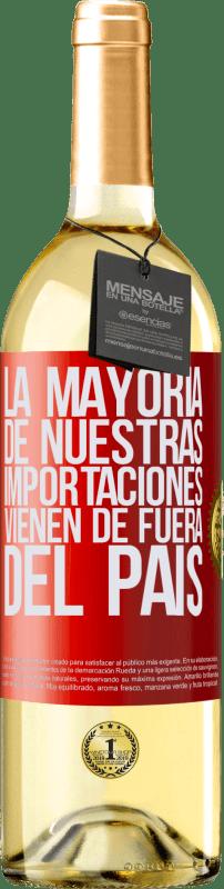 24,95 € Envío gratis | Vino Blanco Edición WHITE La mayoría de nuestras importaciones vienen de fuera del país Etiqueta Roja. Etiqueta personalizable Vino joven Cosecha 2020 Verdejo