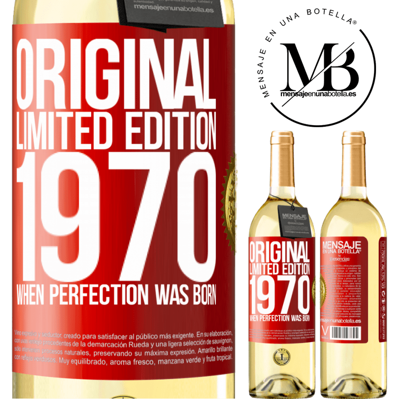 24,95 € Free Shipping   White Wine WHITE Edition Original. Limited edition. 1970. When perfection was born Red Label. Customizable label Young wine Harvest 2020 Verdejo