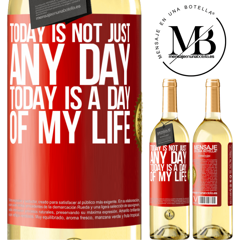 24,95 € Free Shipping | White Wine WHITE Edition Today is not just any day, today is a day of my life Red Label. Customizable label Young wine Harvest 2020 Verdejo