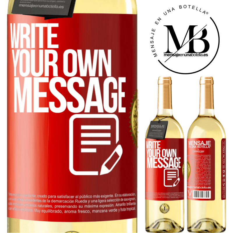 24,95 € Free Shipping   White Wine WHITE Edition Write your own message Red Label. Customizable label Young wine Harvest 2020 Verdejo