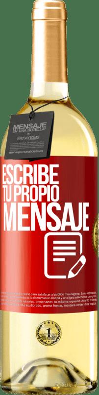 24,95 € Envío gratis | Vino Blanco Edición WHITE Escribe tu propio mensaje Etiqueta Roja. Etiqueta personalizable Vino joven Cosecha 2020 Verdejo