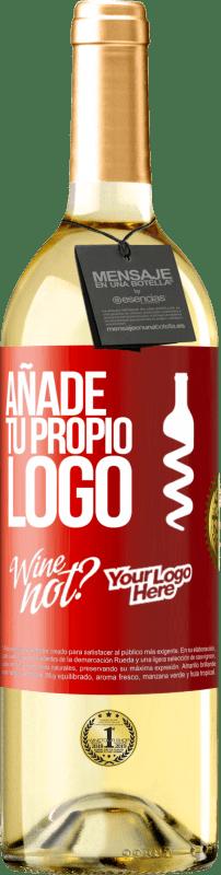 24,95 € Envío gratis | Vino Blanco Edición WHITE Añade tu propio logo Etiqueta Roja. Etiqueta personalizable Vino joven Cosecha 2020 Verdejo